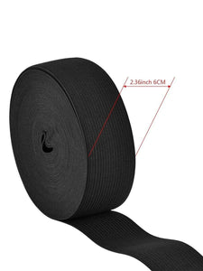 Color=Black | Wide Elastic Knit Band Diy Cloth Face Covering For Sewing-Black 2