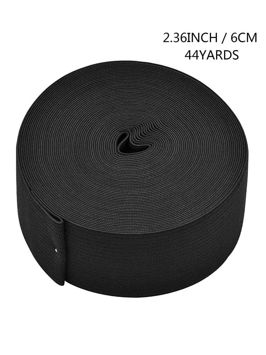 Color=Black | Wide Elastic Knit Band Diy Cloth Face Covering For Sewing-Black 1