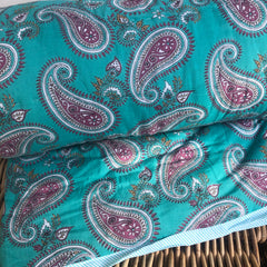 Anokhi cotton Quilt, Turquoise Paisley