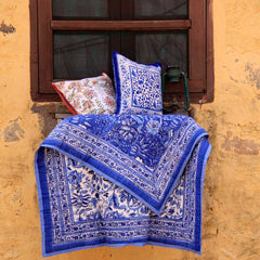 Sada Blue, block printed cotton Quilt