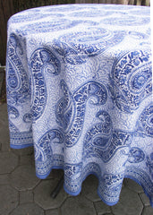 Blue & White Paisley Tablecloth, Round