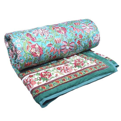 Sada Green, block printed cotton Quilt