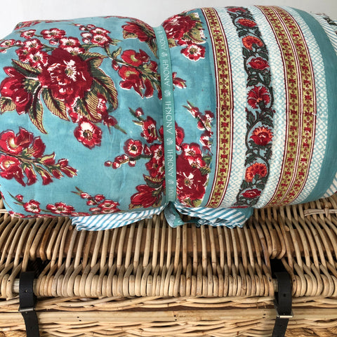 Anokhi cotton Quilt, Red Florals on blue