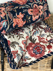 Anokhi cotton Quilt, Navy & Orange flowers