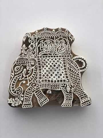 Carved printing block - Elephant ride