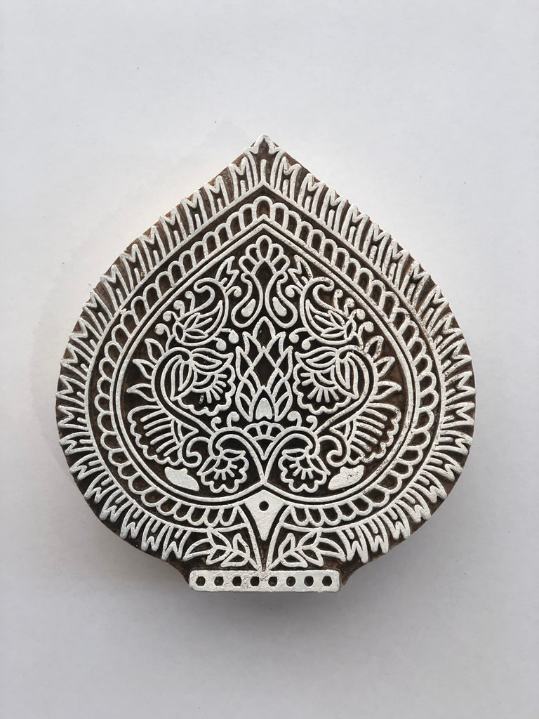 Carved printing block - Flowers fan
