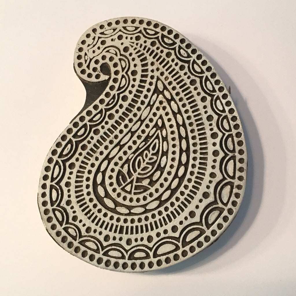 Carved printing block - Large Paisley