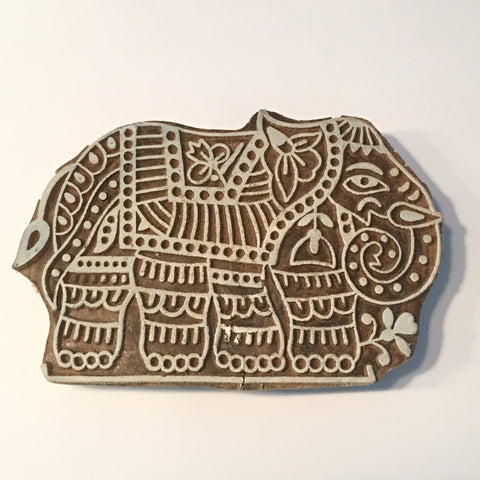Carved printing block - Elephant
