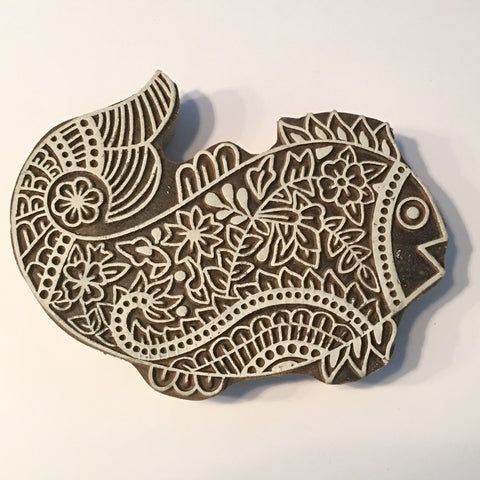 Carved printing block - Fish