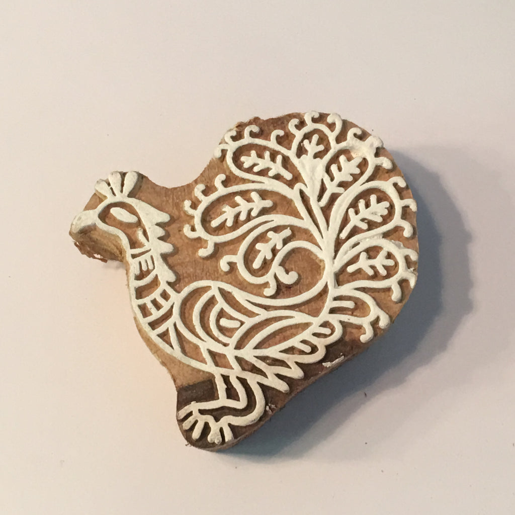 Carved printing block - Peacock 2