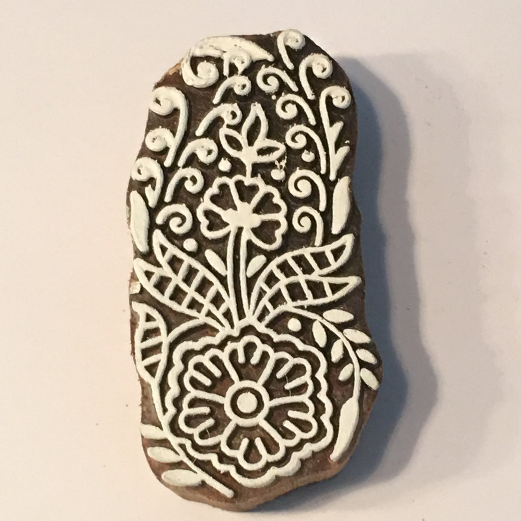 Carved printing block - Floral