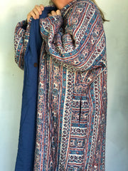 Anokhi Quilted Robes - Long, blue stripes