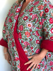 Anokhi Quilted Robes - Long, Red & Pink Flowers