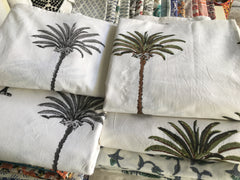 Block printed tablecloths, Palm Grey