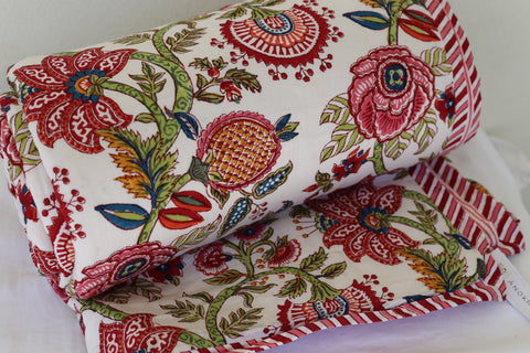 Anokhi cotton Quilt, Red & pinks florals