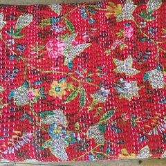 Kantha, Red flower garden.