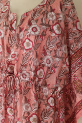 Anokhi Indian cotton Kaftan, Soft pinks florals - Free size