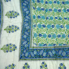 Blue Green Lotus, block printed cotton Quilt