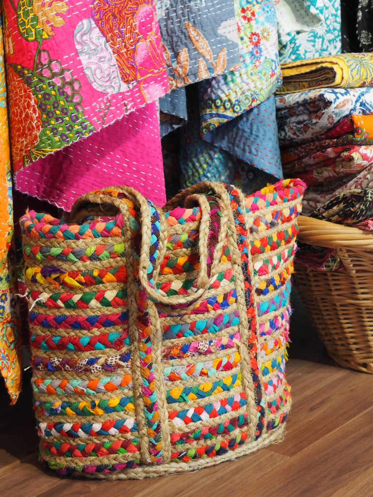 Colourful woven fabric Totes