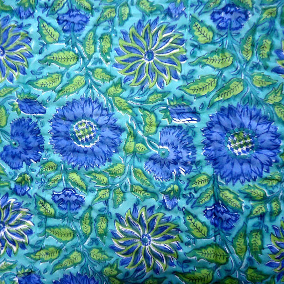 Maha monet block printed cotton quilt fabric society