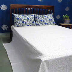 Applique Cut work, White on Cream, Cotton Bedspread