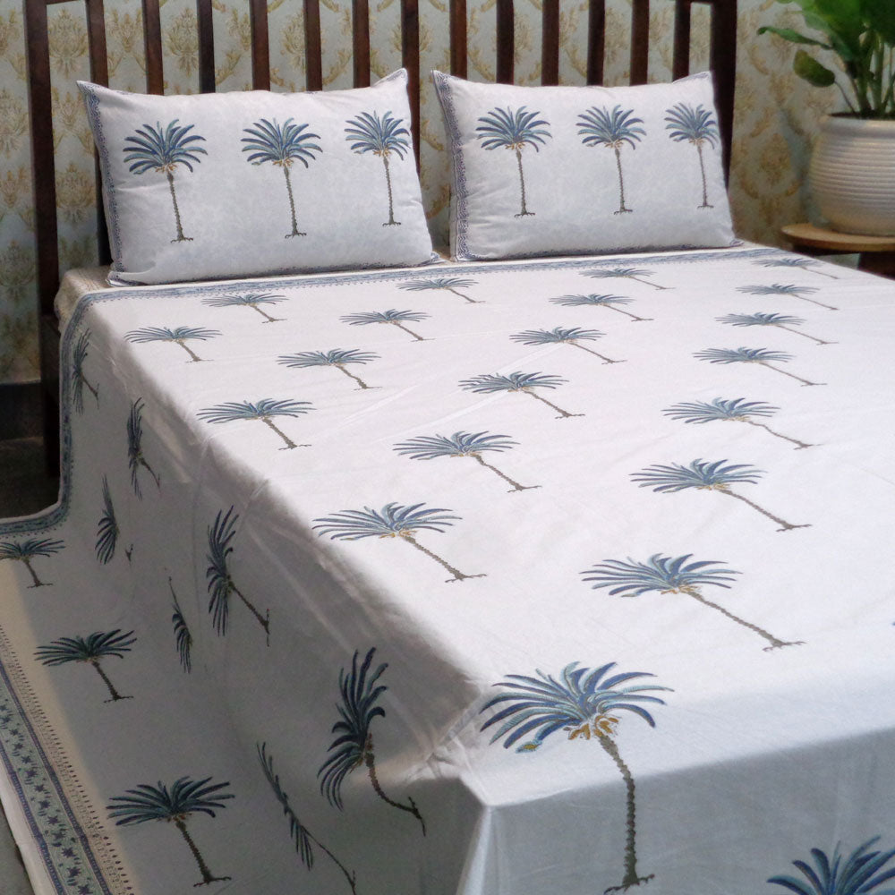 Blue Palm Bedsheeting & 2 blue palm pillow cases, 220 x 265cm