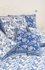 Anokhi cotton Quilt, white & blue florals