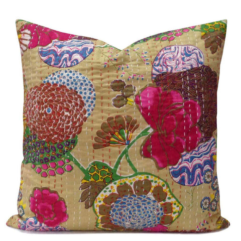 Tropical Kantha cushion covers, Beige