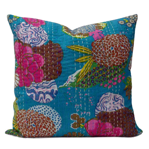 Tropical Kantha cushion covers, Turquoise
