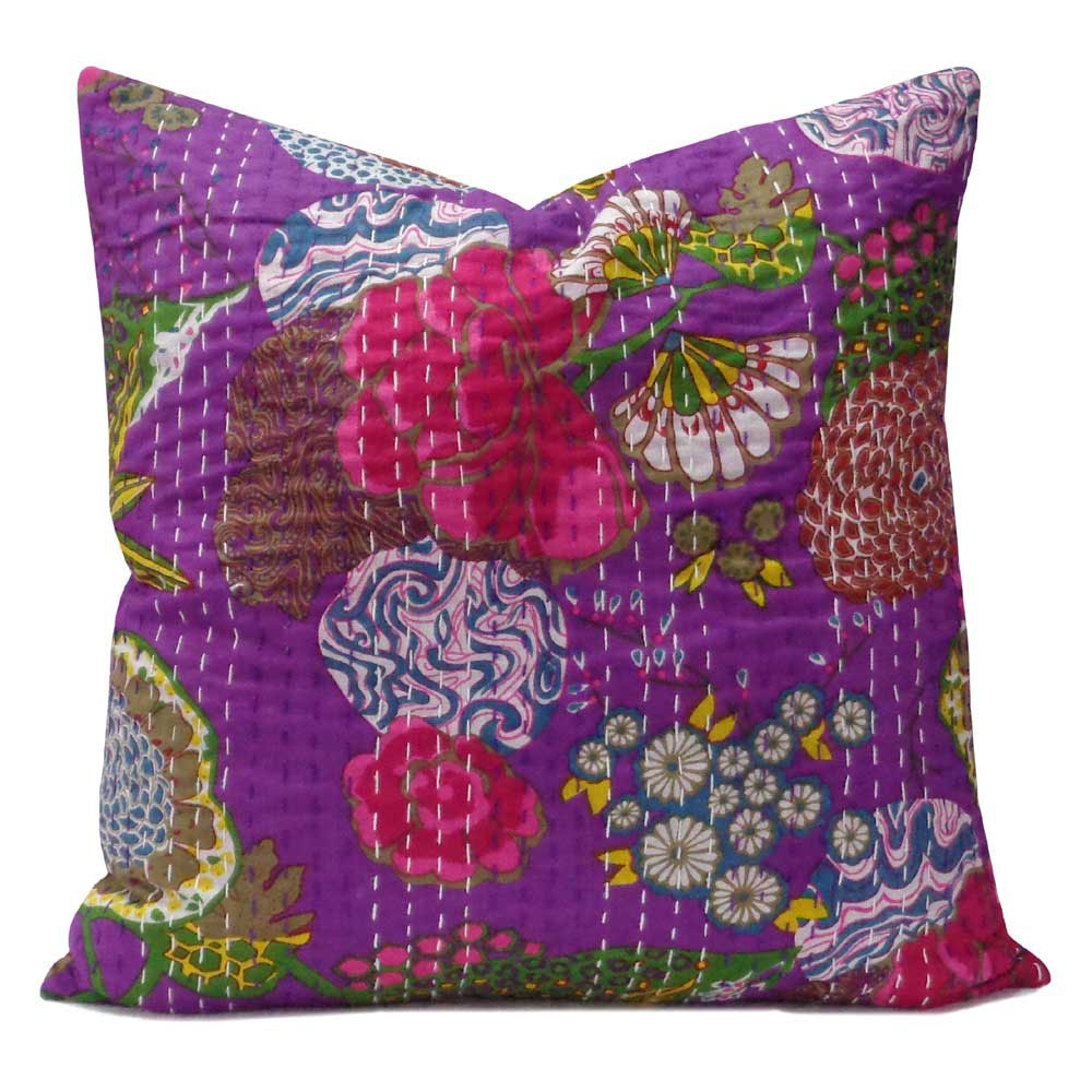 Tropical Kantha cushion covers, Purple