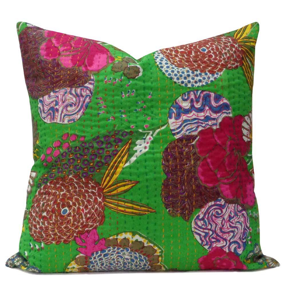 Tropical Kantha cushion covers, Green