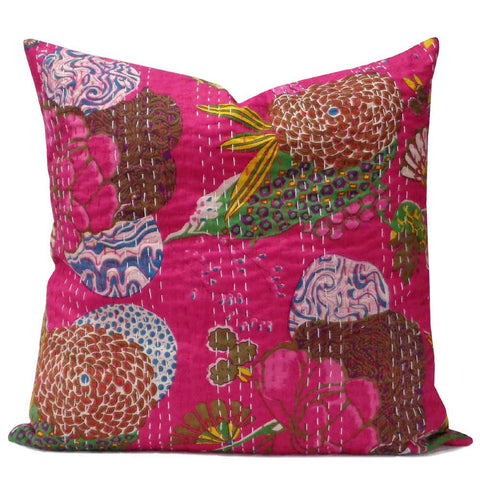 Tropical Kantha cushion covers, Hot pink
