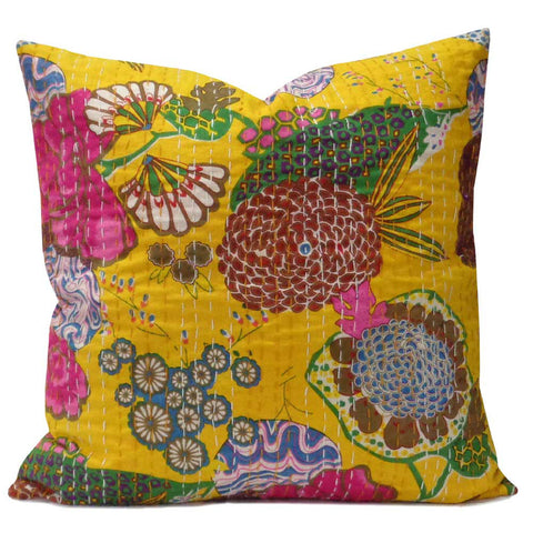 Tropical Kantha cushion covers, Yellow