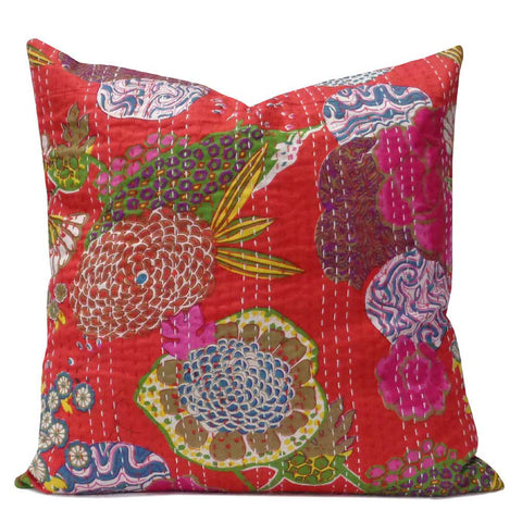 Tropical Kantha cushion covers, Red