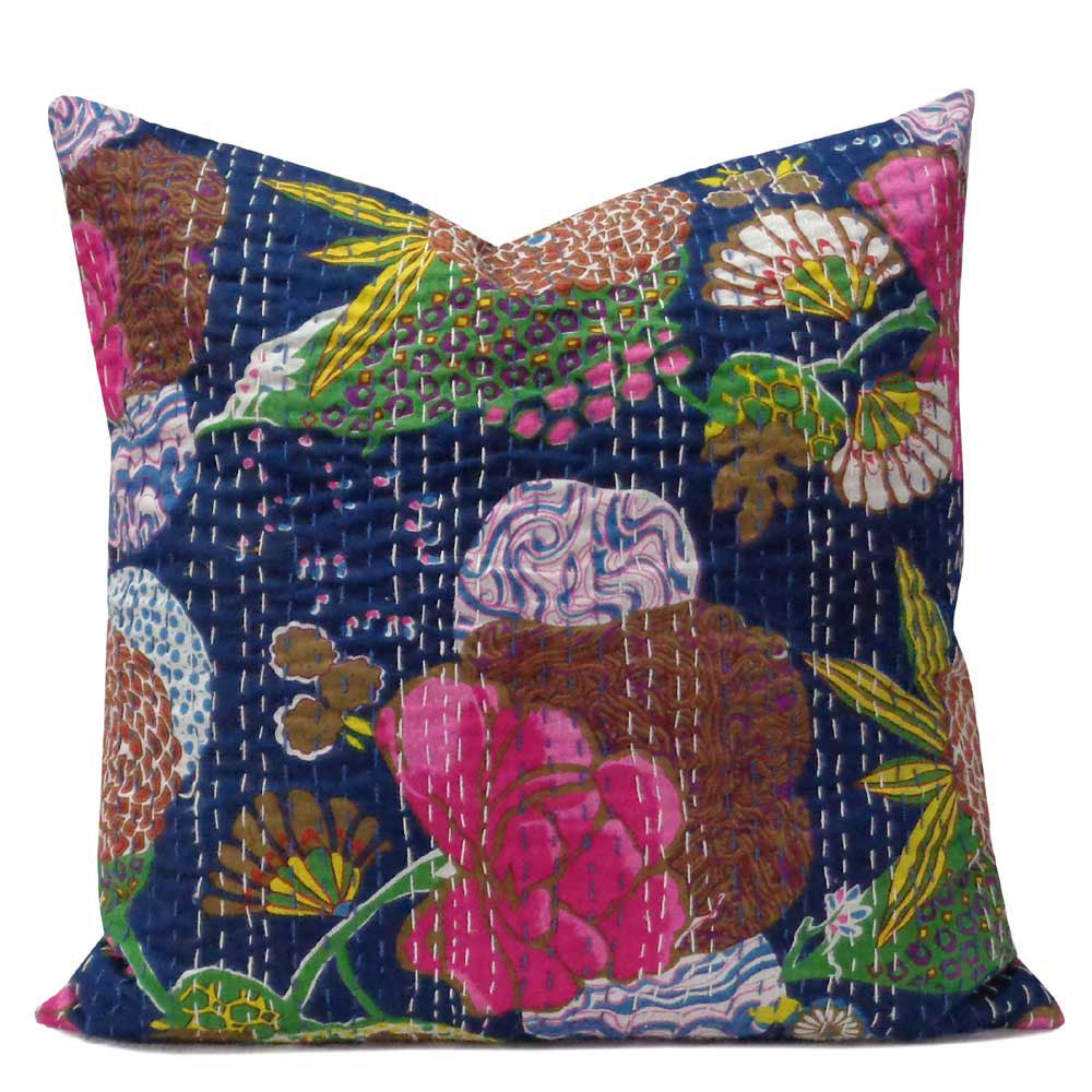 Tropical Kantha cushion covers, Navy blue
