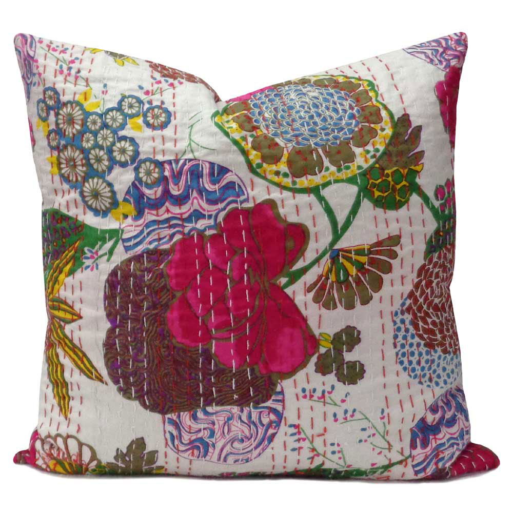 Tropical Kantha cushion covers, White