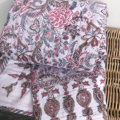 Anokhi cotton Quilt, Soft pinks & beige florals