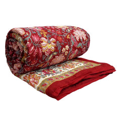 Imperial Red, block printed cotton Quilt
