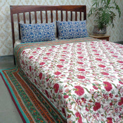 Flower Blossom red, block printed cotton Quilt