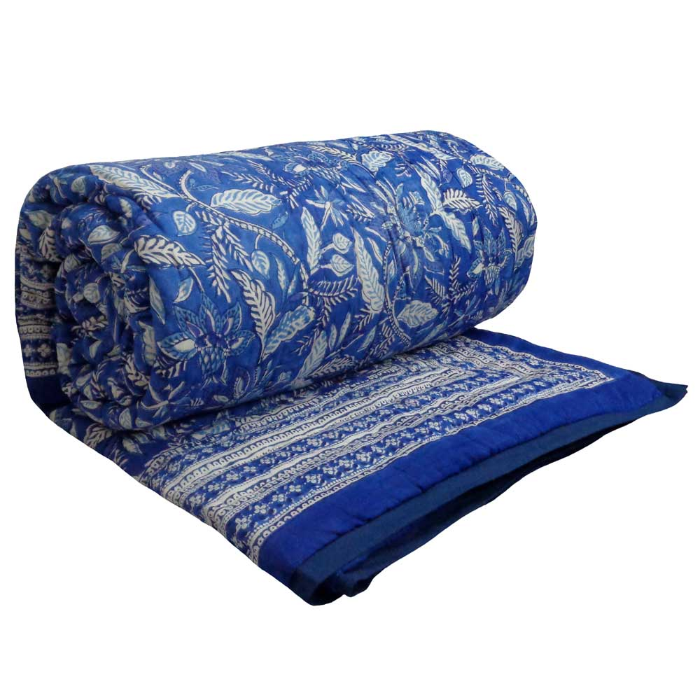 Bossi Blue, block printed cotton Quilt