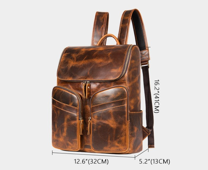 brown small leather backpack purse