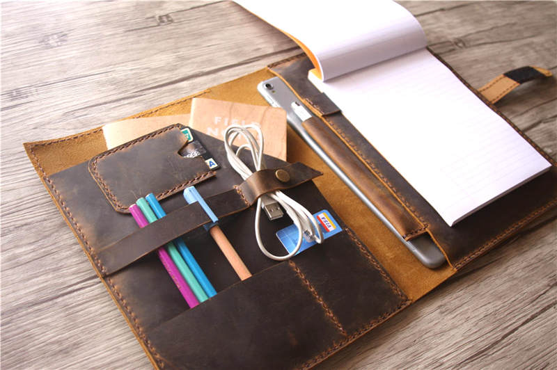 handmade leather ipad pro case with pencil holder