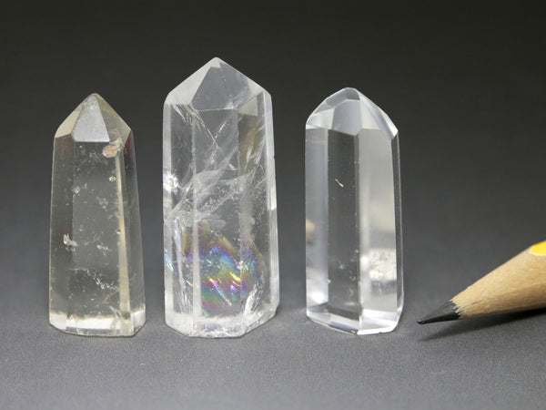 Rock crystal points, one is pale topaz, small
