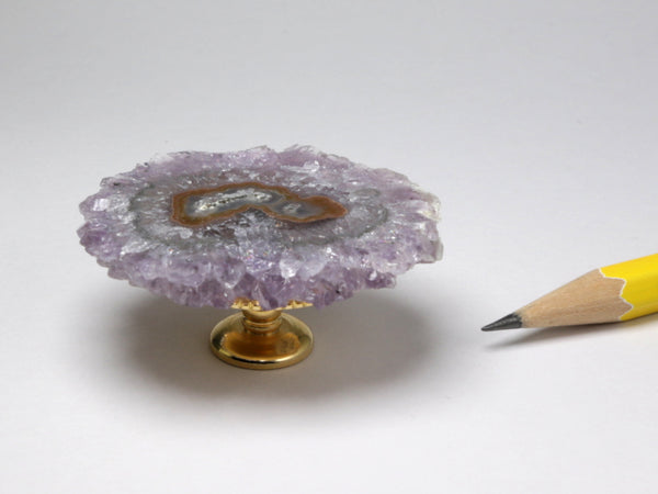 Amethyst crystal table or display stand, dollhouse miniature
