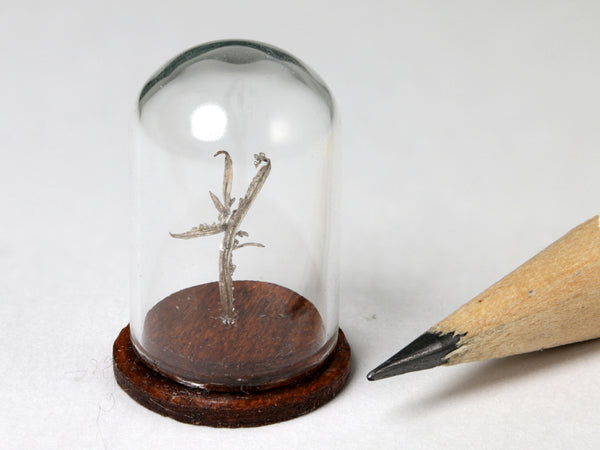Native silver wires specimen, Australia.  1:12 dollhouse display.  Other side.