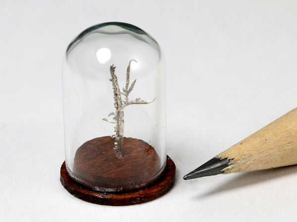 Native silver wires specimen, Australia.  1:12 dollhouse display, different lighting.