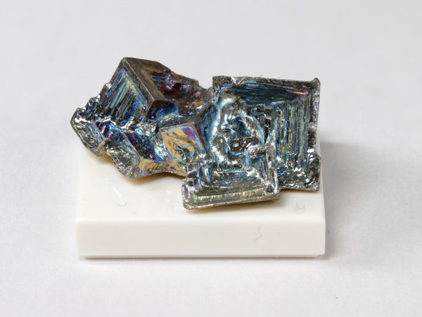 Iridescent bismuth crystal cluster, 1:12 scale miniature display