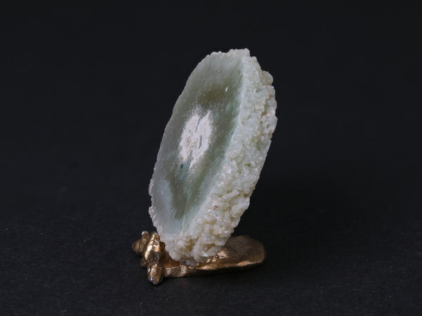 Green agate stalactite slice display, 1:12 scale, side view