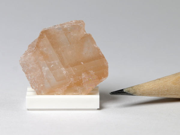 Orange calcite, dollhouse display