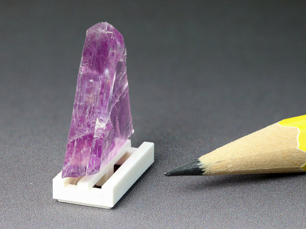 Natural colour purple fluorite triangle for dollhouse, side view